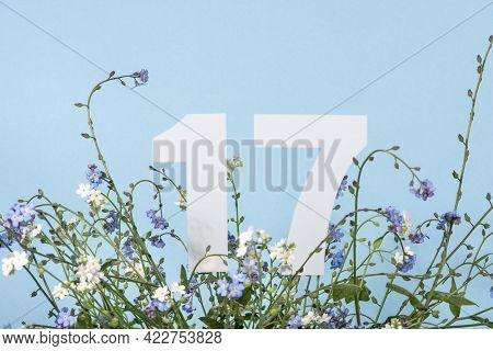 Number Seventeen Among Blue Forget-me-not Flowers.  Birthday, Anniversary, Jubilee Concept. For Invi