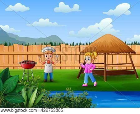 Children Enjoy Barbecue In The Backyard Illustration