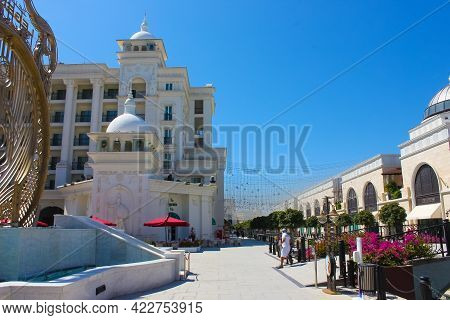 Belek, Antalya, Turkey - May 15, 2021: The Land Of Legends Theme Park In Belek. Main Entrance
