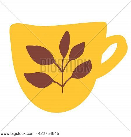 Yellow Tea Cup With Ornament Isolated On White