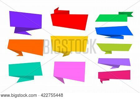 Set Of Colorful Callout Illustration Design, Flat Paper Callout With Blank Space For Text Template V