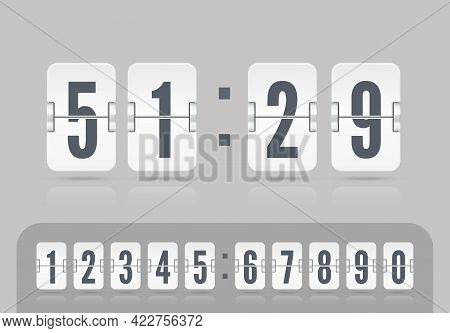 Vector Coming Soon Web Page Template With Flip Time Counter. White Scoreboard Number Font. Vector Il