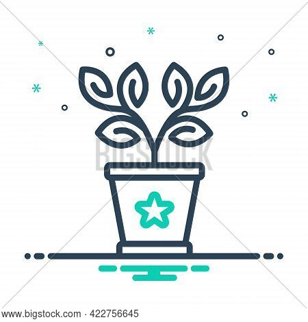 Mix Icon For Plant-in-a-pot Botanical Greenery Houseplant Conservatory Plant Gardening Pot Aligned E