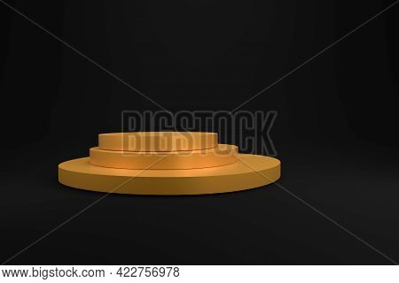 Golden Podium On A Dark Background, 3d Rendering