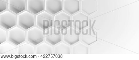 Abstract Modern White Honeycomb Background, 3d Rendering