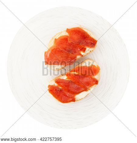 Sandwiches with smoked trout isolated on white background