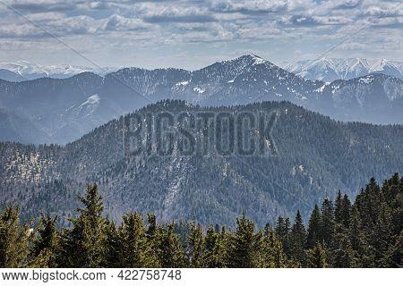 Big Fatra Mountains From Lysec Hill, Slovak Republic. Snowy Landscape. Seasonal Natural Scene. Trave