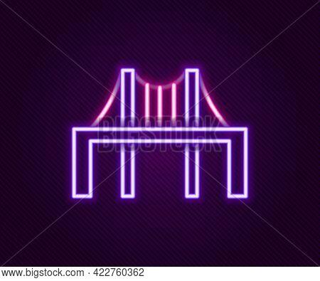 Glowing Neon Line Golden Gate Bridge Icon Isolated On Black Background. San Francisco California Uni