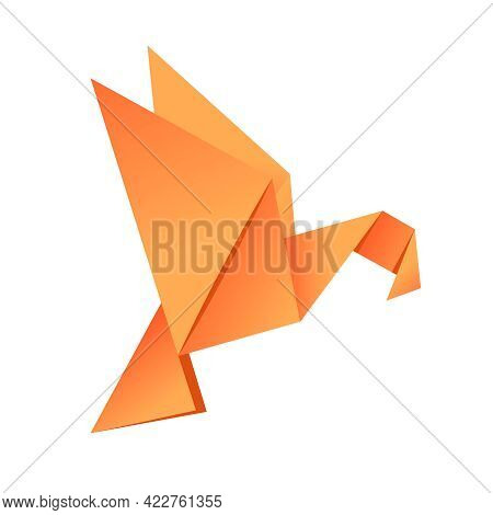 Paper Origami Shape - Bird, Eagle. The Japanese Art Of Folding Paper Figures Is A Hobby, Needlework