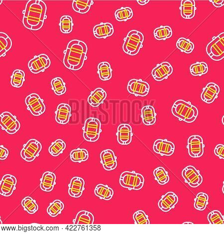 Line Rafting Boat Icon Isolated Seamless Pattern On Red Background. Inflatable Boat. Water Sports, E