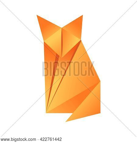 Paper Origami Shape - Fox. The Japanese Art Of Folding Paper Figures Is A Hobby, Needlework