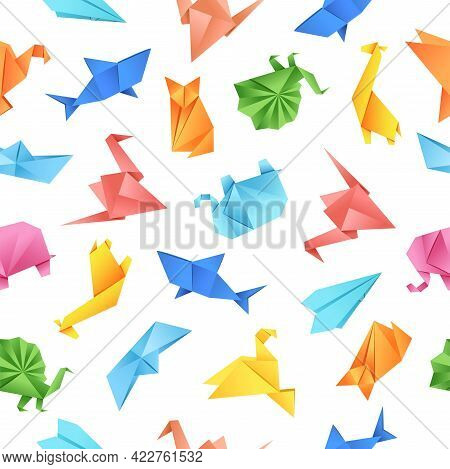 Origami Paper Shape Seamless Pattern On White Background. Vector Illustration For Fabrics, Textiles,