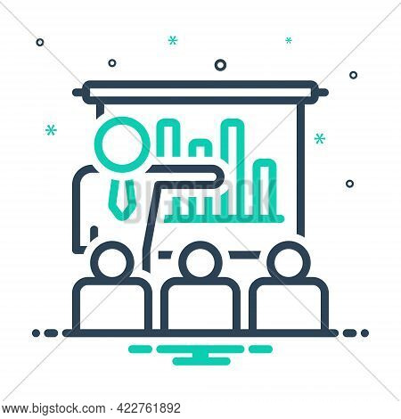 Mix Icon For Business-presentation-with-bars-graphic Demonstration Workshop Audience Spectator Conve