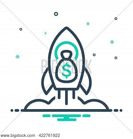 Mix Icon For Rocket-space-ship-with-money-bag-of-dollars Launch Rocket Start Begin Startup Technolog