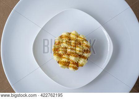 Carrot Cake On White Plate