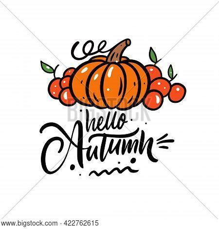 Hello Autumn Calligraphy Phrase. Holiday Season Thanksgiving Day. Pumpkin And Apples Vector Illustra
