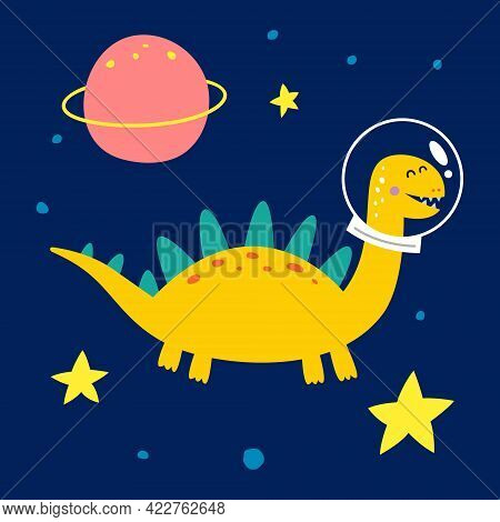 Space Dinosaur, Vector Illustration For Children S Fashion