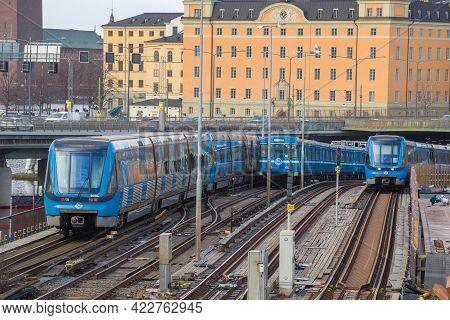 Stockholm, Sweden - March 09, 2019: Three Trains Of The Stockholm Metro On The Gamla Stan Tunnelbana