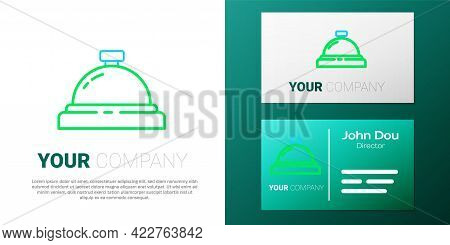 Line Hotel Service Bell Icon Isolated On White Background. Reception Bell. Colorful Outline Concept.