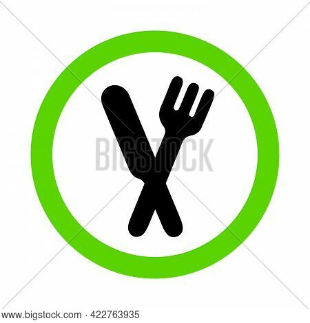 Eating Allowed, Green Food Zone Sign With Fork And Knife On White Background