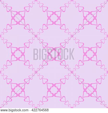 Seamless Abstract Pattern Of Hearts In Pink Tones And Forming A Mesh Ornament For Prints On Fabrics,