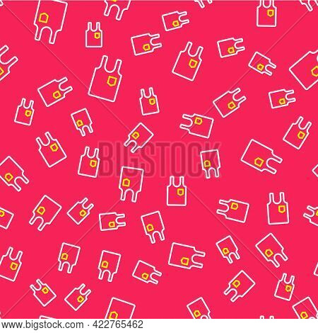 Line Sleeveless T-shirt Icon Isolated Seamless Pattern On Red Background. Vector