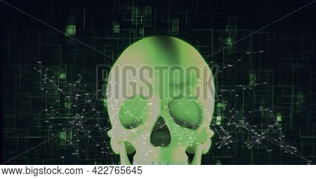 Compostion of network of connections over digital skull on black background. global connections, technology and digital interface concept digitally generated image.
