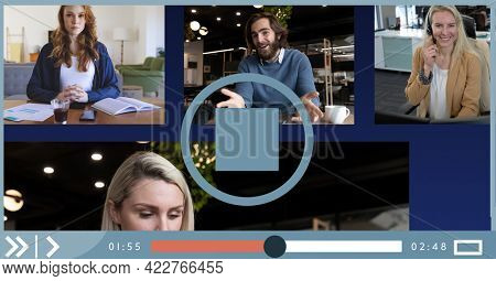 Composition of group of businesspeople having video call on video playback interface screen. global business communication technology concept digitally generated image.