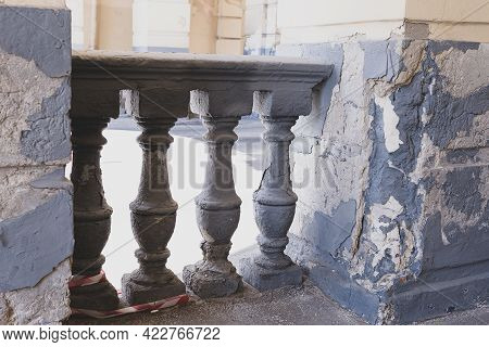 Stone Railing Balusters With Shadows And Light A Fragment Of An Architectural Building