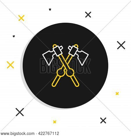 Line Crossed Medieval Axes Icon Isolated On White Background. Battle Axe, Executioner Axe. Medieval