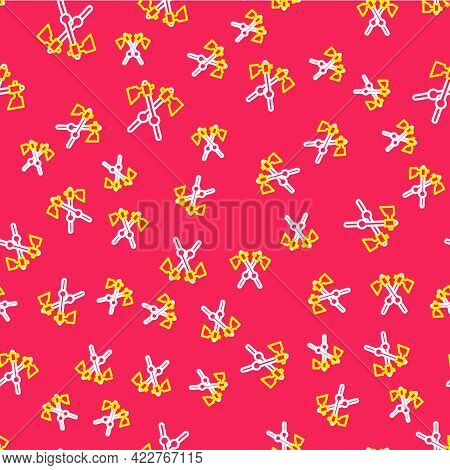 Line Crossed Medieval Axes Icon Isolated Seamless Pattern On Red Background. Battle Axe, Executioner