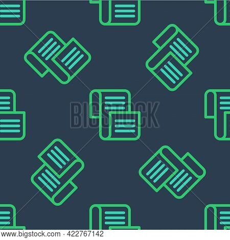 Line Decree, Paper, Parchment, Scroll Icon Icon Isolated Seamless Pattern On Blue Background. Vector