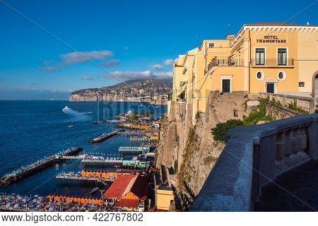 Sorrento, Campania, Italy - August 26 2020: Hotel Tramontano, In The Villa Strongoli Palace On The C