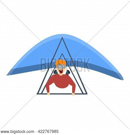 Sport Hang Glider Icon. Cartoon Of Sport Hang Glider Vector Icon For Web Design Isolated On White Ba