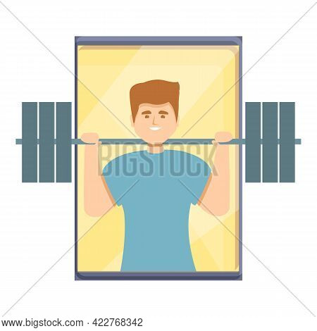 Barbell Fitness Blog Icon. Cartoon Of Barbell Fitness Blog Vector Icon For Web Design Isolated On Wh