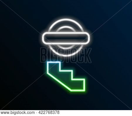 Glowing Neon Line London Underground Icon Isolated On Black Background. Colorful Outline Concept. Ve