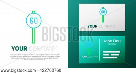 Line Speed Limit Traffic Sign 60 Km Icon Isolated On White Background. Colorful Outline Concept. Vec