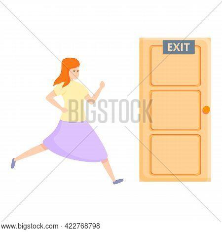 Exit Door Evacuation Icon. Cartoon Of Exit Door Evacuation Vector Icon For Web Design Isolated On Wh