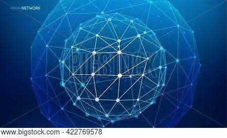 Network Sphere Big Data Vector Background. Internet Network Digital Technology Background. Global Ne