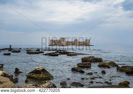 Panoramic View Onto Medieval Castle Kızkalesi, Mediterranean Sea & Reefs Near Coastline Of Resort Ci