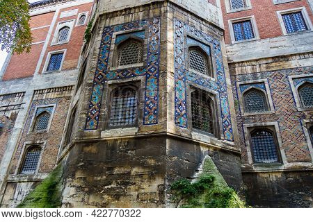 Western Wall Of Tiled Pavilion Museum In Istanbul, Turkey. It's Built In 1472. This Part Of Building
