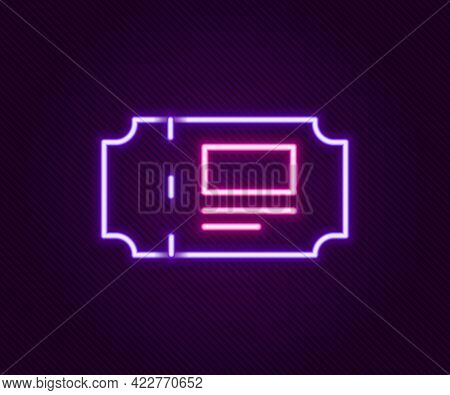 Glowing Neon Line Museum Ticket Icon Isolated On Black Background. History Museum Ticket Coupon Even