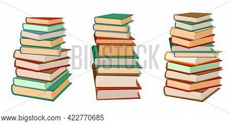 Books Stack Vector Illustration Set Pile Of Books Hardback Books Composition