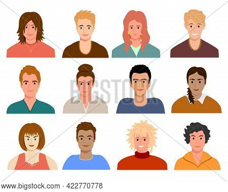 Avatars With Young People S Faces. Portraits Of Diverse Men And Women Of Different Races. User Profi