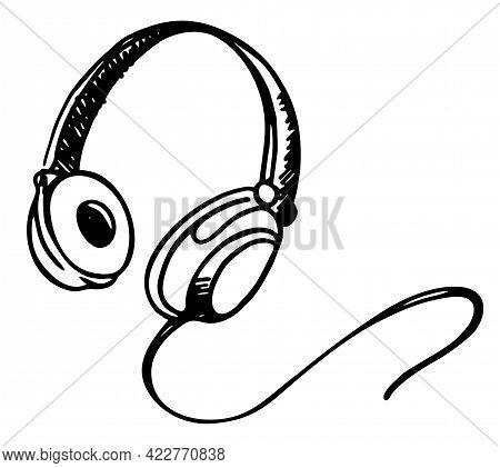 Hand Drawn Old School Headphones Vector Illustration. Music. Vector Illustration. Headphone Icon Ske