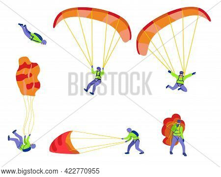 Skydivers Flying With Parachutes, Extreme Parachuting And Skydiving Concept. Stages Of A Parachute J
