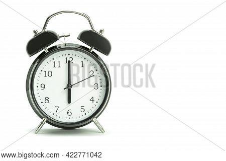 Black Light Alarm Clock On A White Background. Black Style Alarm Clock On A White Background. Backgr