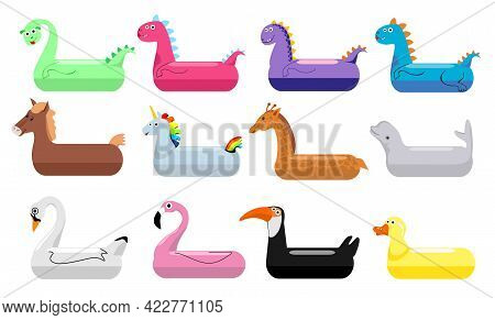 Inflatable Pool Floats. Inflatable Swimming Rings Set For Children. Floating Dragon, Whale, Duck, Fl