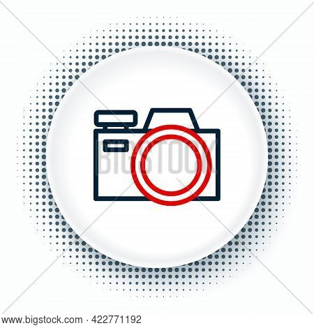 Line Photo Camera Icon Isolated On White Background. Foto Camera Icon. Colorful Outline Concept. Vec