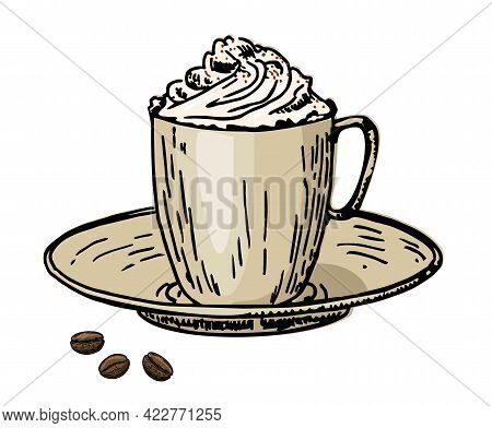 Viennese Coffee. Coffee With Cream In A Cup And Coffee Beans. Caffe Latte Whipped Cream Cap